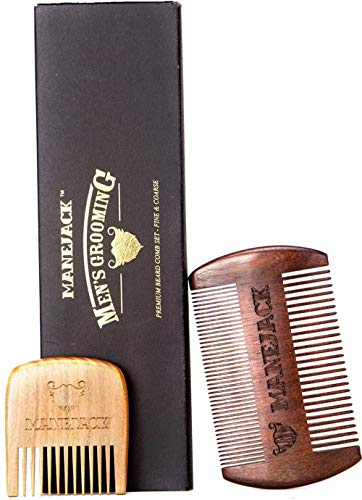 Sandalwood Hair Combs for Men – Beard & Moustache Antistatic Dual Action Fine & Coarse/Wide Tooth Wooden Comb – Perfect to Use With Beard Oil & Balm – Pocket sized