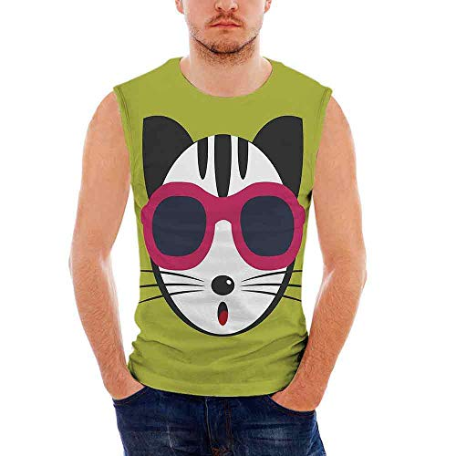 Mens Apparel Mens Triblend Blotter Tank Top Animal,Cute Kitten Wearing Pink S