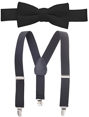 Hold'Em Suspender and Bow Tie Set for Kids, Boys, and Baby - Proudly Made in USA - Extra Sturdy Polished Silver Metal Clips, Pre Tied Bow Tie-Black ()