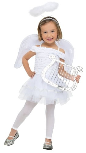 Home Costumes Halloween Bargains (Fun World Costumes Baby Girl's Little Angel Toddler Costume, White,)