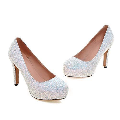 Blanc Mariage Élégant Femme Chaussures Plateforme Talon Slip Avec Paillettes Haut Vitalo On De Décolleté nfwRq055O