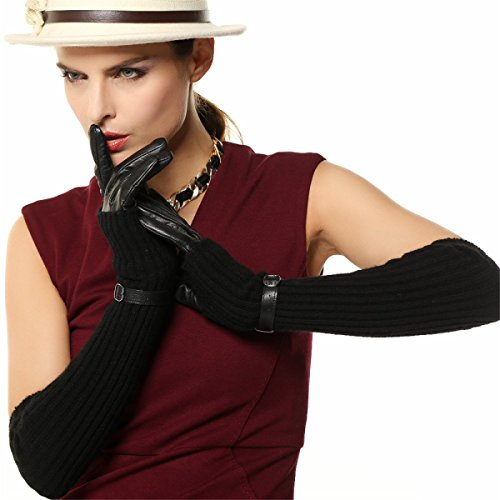 DIDIDD Women 's Cashmere Sets of Leather Gloves Winter Warm Long Section,Black,Large by DIDIDD