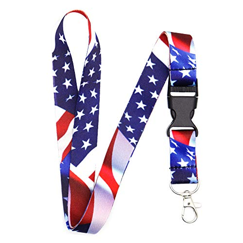 Lanyard-Lanyards for Women/Men-ID Lanyard-Key Lanyard-University Lanyard -Premium Soft Silky Wide Strapped Beautifully Printed Lanyard with Safe Removable Buckle & Spring Clip (USA Flag)