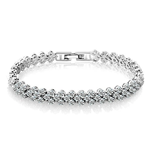 Zealmer Shoopic Cubic Zircon Tennis Bracelet Crystal Hand Chain for Women (white2) Crystal Tennis Bracelet
