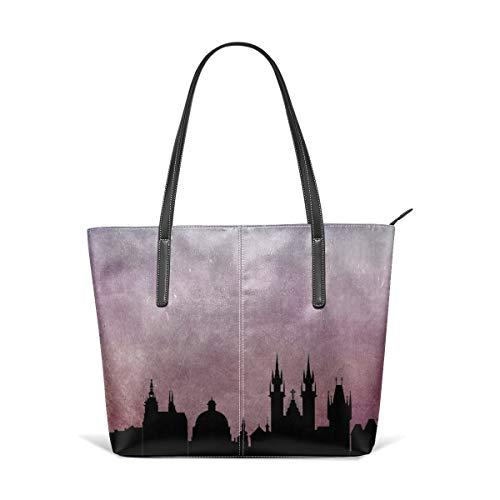 Women's Soft Leather Tote Shoulder Bag Prague Big Capacity Casual Portable Handbag Purses Work Travel Bag -