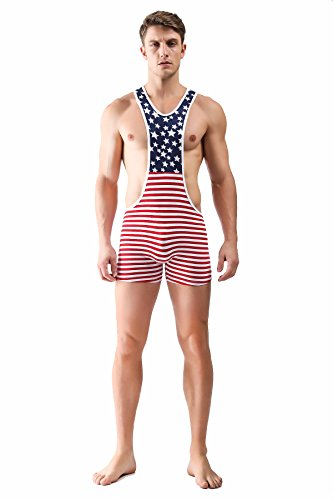 Fangran Men's Sexy Sports Jockstrap Jumpsuit Underwear Mankini USA Flag Bodysuit Wrestling Singlet M - High-Waist]()