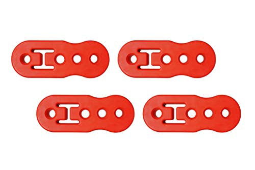 PitVisit Premium 4 Hole Exhaust Hanger Mount Bushings High Density Rubber Insulator Shock Absorbent Replacement Support Bracket for Tail Pipe Exhaust System (Red Notched - 4 Pack)
