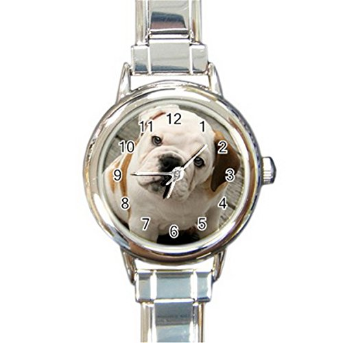 English Bull Dog Round Italian Charm Watches Stainless Steel for Women HOT Gift NEW