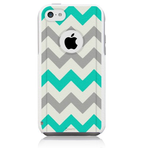 iPhone 5c Case White Chevron Turquoise [Dual Layered Hybrid] Protective Commuter Case for iPhone 5c White Case by Unnito (Iphone 5c White Chevron Turquoise)