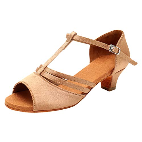 Toimothcn Dance Shoes Women Latin Salsa Practice Peep Toe Sandals T Strape Low Heel Dress Shoes(Khaki,US:5.5)]()