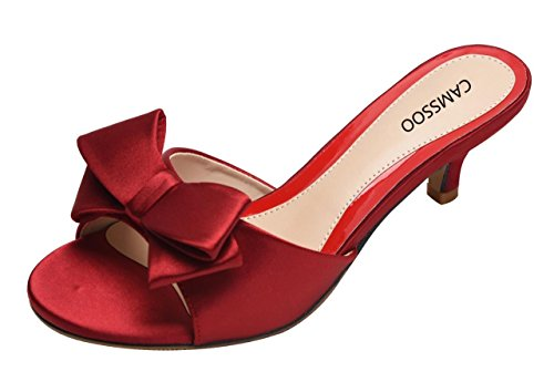 Slip Open Shoes On Bowknot Low Red Summer Heeled Sandals Wine Satin Camssoo Women's Toe Slippers 14EqvA