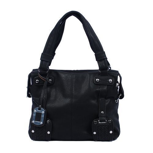 Via Faux Leather Hobo Tote Handbag Shoulderbag with Bottom Weave Buckles, Colors Available, Bags Central