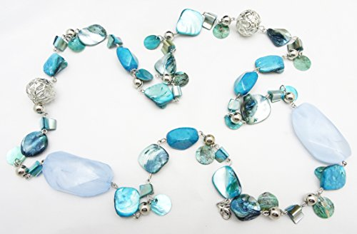 Gorgeous New 41  Blue Tone Shell   Filagree Bead Necklace