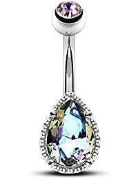 14G Surgical Steer Belly Button Rings Tear Drop CZ Gem Navel Rings Belly Jewelry