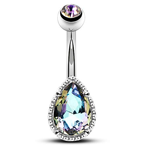 (OUFER 14G Surgical Steer Belly Button Rings Tear Drop CZ Gem Navel Rings Belly Jewelry)