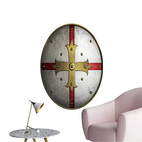 Vinyl Wall Stickers Round Medieval Shield with Golden Cross Perfectly Decorated,24