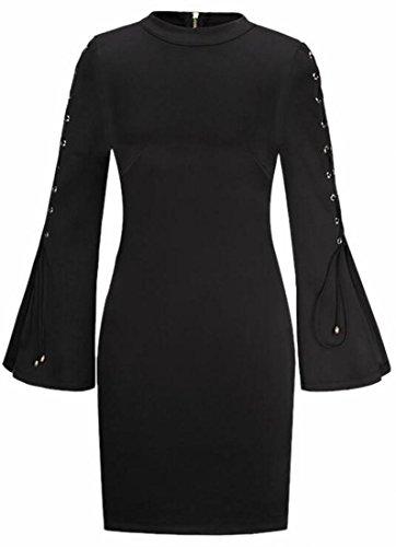 Jaycargogo Bandage Lace Sexy Black Sleeve Bodycon Dress Midi Up Womens THrBqwT