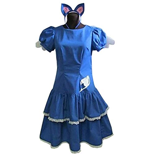 (Poetic Walk Fairy Tail 4th Anime The Final Season Lucy Happy Lolita Dress Halloween Costume (Womens-M,)