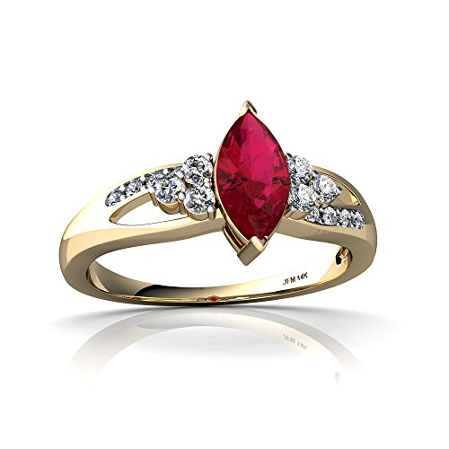 14kt Yellow Gold Lab Ruby and Diamond 8x4mm Marquise Antique Style Ring - Size 7.5