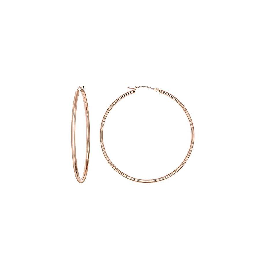 14k Gold Classic Hoop Earrings, 2'' Diameter