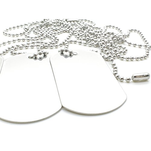 100 Combo Shiny Stainless Steel Military spec Dog Tags - Blank with Stainless Steel Chains (100 Dog Tags w/ 24