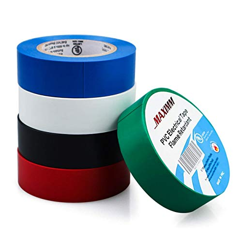 Maximm PVC Vinyl Electrical Tape, 5-Pack Multi-Color, UL Listed, Heat Resistant, Flame Retardant, Waterproof, Black, White, Blue, Red & Green Blue Vinyl Electrical Tape