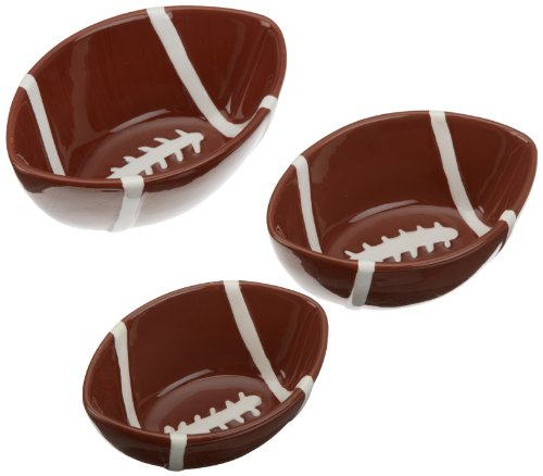 DII Game Day Football Ceramic Nesting Bowl Set