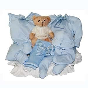 La Cigüeña del Bebé - Canastilla Ajuar Baby Azul