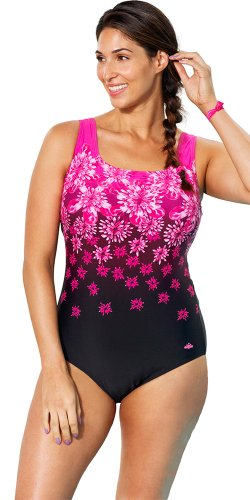 9863a5540c Aquabelle Women's Plus Size Chlorine Resistant Exploded Floral Tank Swimsuit  18 Pink