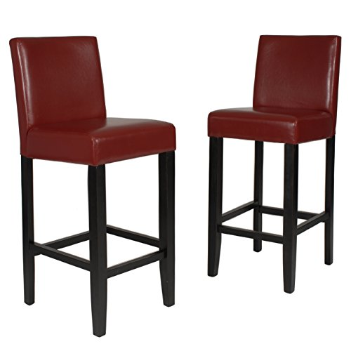 Roundhill Furniture Citylight Bar Height Barstools (Set of 2), Red (Red Barstool)