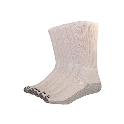 Dickies Men's Multi-Pack Dri-Tech Moisture Control Crew Socks, White (6, Shoe 5-9 Size: 9-11)