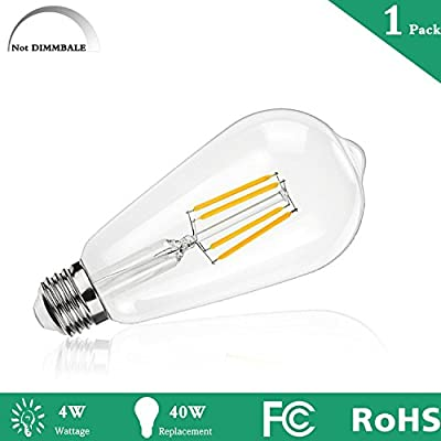LED Edison Bulb 4W Non Dimmable 2200K Warm White 300LM, 40W Vintage Antique Style Incandescent Equivalent, E26 Medium Edison Base, ST21(ST64) Vintage LED Filament Bulbs, 360 Degrees Beam Angle-1 pack