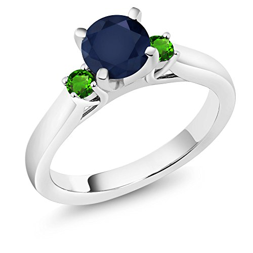 1.28 Ct Blue Sapphire Green Simulated Tsavorite 925 Sterling Silver 3-Stone Ring