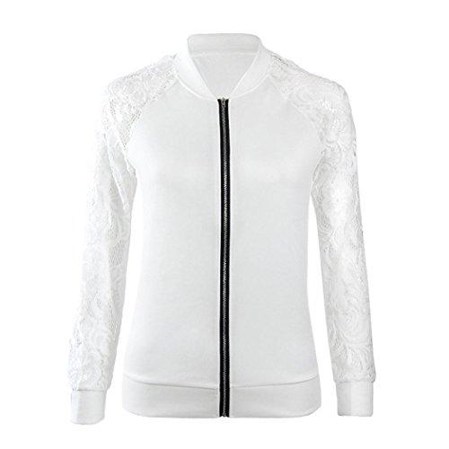 XUANOU Womens Long Sleeve Lace Blazer Suit Casual Jacket Coat Outwear (Large, White) by XUANOU (Image #1)