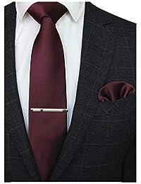 f6f14b26a1c Solid Color Formal Necktie and Pocket Square Tie Clip Sets for Men