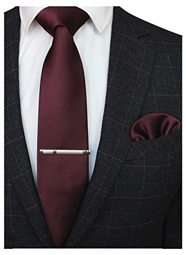 JEMYGINS Maroon Formal Necktie and Pocket Square Tie Clip Sets for Men (18)