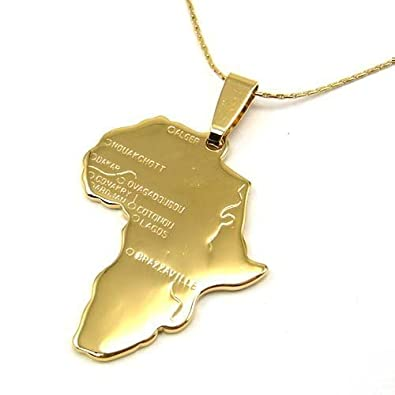 Gold africa necklace pendant 22 inch chain amazon jewellery gold africa necklace pendant 22 inch chain audiocablefo