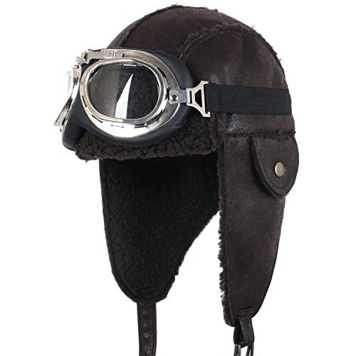 Aviator Hat With Goggles (ililily Aviator Hat Winter Snowboard Fur Ear Flaps Trooper Trapper Pilot Goggles , Dark Brown)