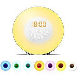 Dragon-Hub Digital Wake up Light Sunrise Alarm Clock RGB LED 7 Multi-Color Night Light Bedside Lamp with FM Radio Snoooze Function Touch Control Sunrise Sunset Simulation Nature Sounds for Adults Kids