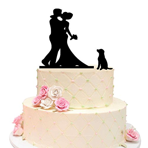 Wedding Couple with Dog Acrylic Black Wedding Cake Topper, Bride and Groom with Lovely Pet Dog