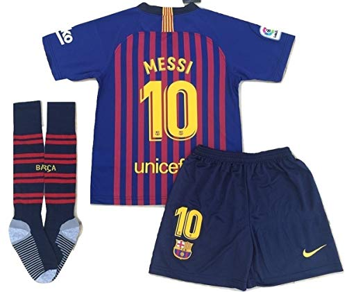 Messi #10 New 2018-2019 FC Barcelona Home Jersey Shorts & Socks for Kids/Youth (7-8 Years Old) Red, Blue ()