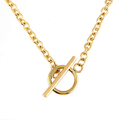 - Stainless Steel Women Choker 4Mm Width Rolo O Cable Chain Toggle Clasp Necklace Steel Gold Color Floating Lock