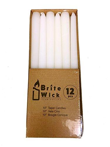 Brite Wick - 10 Inch Taper Candles, White, 12 Count ()