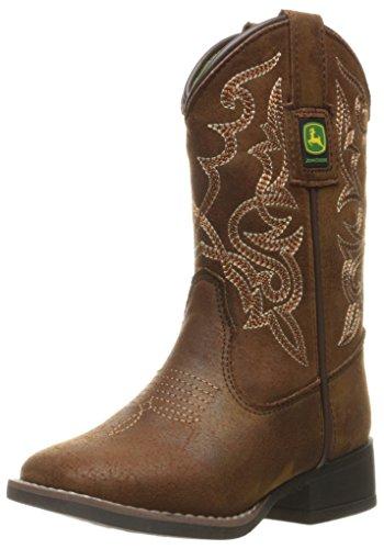 John+Deere+Western+Boots+Boys+Kids+Broad+Toe+12+Child+Brown+JD2024