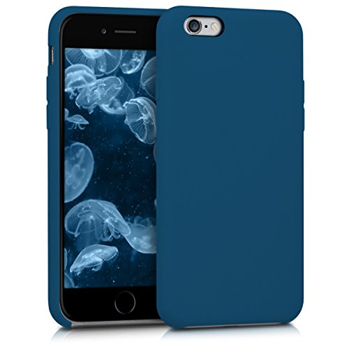 kwmobile TPU Silicone Case for Apple iPhone 6 / 6S - Soft Flexible Rubber Protective Back Door Cover - Dark Blue (Rubber Rubber Dark Blue)