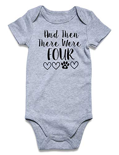 Baby Bodysuit and Then There were Four Cute Printed Custom Infant Romper Jumpsuit Lovely Baby Saying Toddler Outfits(3-6Months) -