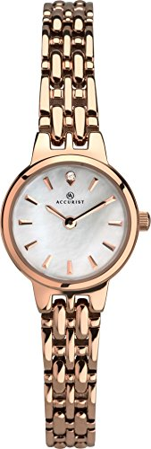 Accurist Ladies Anlaogue Quartz Watch With Rose Gold Bracelet And Mother Of Pearl Dial 8233