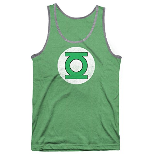Hybrid Justice League Green Lantern Logo Mens Tank Tops Tee (X-Large)