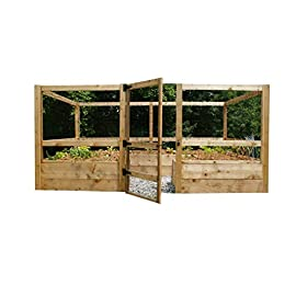 "Deer-Proof Just Add Lumber Vegetable Garden Kit - 8'x12' 13 DOES NOT INCLUDE LUMBER. Kit includes everything but the lumber: 12 Raised bed brackets, black nylon netting for fencing/trellis, black vinyl-coated steel wire for gate, ceramic-coated rust resistant screws, plus all other required hardware and detailed instructions Buy your own rough lumber locally - Build the ultimate vegetable garden with this kit. Required rough construction lumber [redwood or cedar suggested, listed lumber is the nominal size, which will likely be larger (thicker) than the actual size]: (6) 2""x10""x12'; (6) 2""x10""x8'; (8) 2""x4""x12'; (1) 2""x4""x8'; (4) 2""x2""x12'; (1) 2""x2""x8'; (4)1-5/8""x1-5/8""x12' (actual size); (1) 1-5/8""x1-5/8""x8'. Note: lumber will need to be cut into the sizes described in the assembly instructions Gated garden keeps out deer, rabbits and dogs"