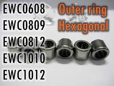 Ochoos 10PCS/LOT One Way Needle Bearing EWC0608 EWC0809 EWC0812 EWC1010 EWC101 (Outer Ring: Octagon Hexagonal) Fishing Gear Bearing - (Length: EWC1010 Hexagonal)